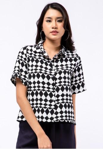 The Executive black Printed Short Sleeve Blouse 062ACAA0984DDEGS_1