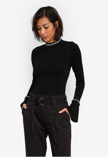 WAREHOUSE black Embellished Flare Cuff Jumper WA653AA0S7D2MY_1