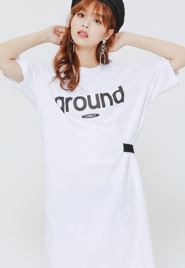 White Letter H Personality Print CONNECT Dress TC1AnxYnwq