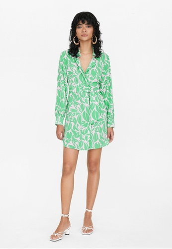 Pomelo green Floral Tied Waist Shirt Dress - Green F5E82AA47E533FGS_1
