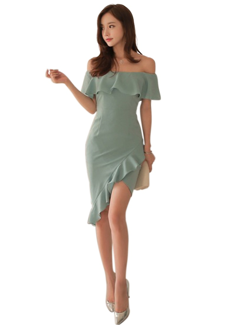 Green A060423 Piece Dress Sunnydaysweety Off 2018 Sweetheart Style One Green Shoulder Light New wxFC7q4