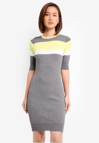 ZALORA grey Striped Body Con Rib Dress 85F55AAAF5B148GS_1