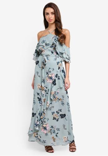 River Island blue Floral Frill Cold Shoulder Maxi Dress F0851AA8C52EBBGS_1