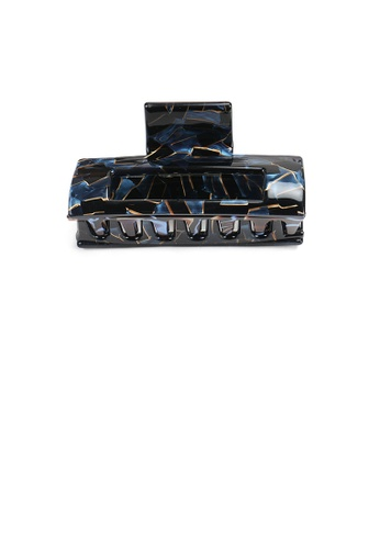 Glamorousky black Simple Fashion Blue Black Pattern Geometric Hair Claw 74662AC22881DDGS_1