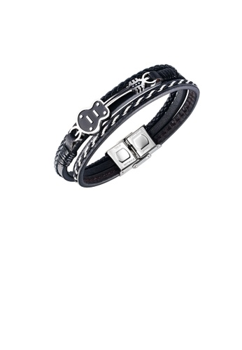 Glamorousky silver Fashion Personality 316L Stainless Steel Guitar Multilayer Leather Bracelet 0552BACA3D3451GS_1