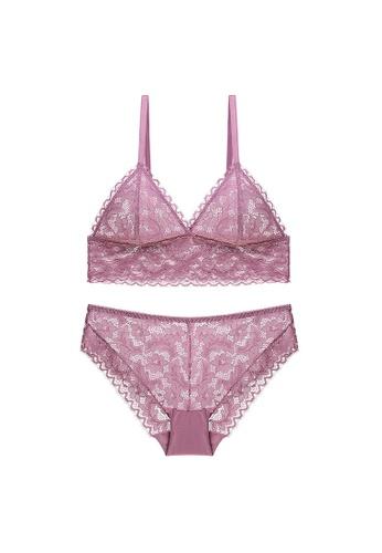 W.Excellence 粉紅色 Premium Pink Lace Lingerie Set (Bra and Underwear) 7FD51US1BA04D9GS_1