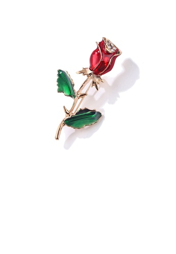 Glamorousky white Fashion and Elegant Plated Gold Red Rose Brooch with Cubic Zirconia B1614ACE781B9BGS_1