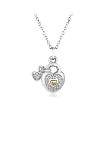 Glamorousky white 925 Sterling Silver Fashion Romantic Two-tone Love Lock Pendant with Cubic Zirconia and Necklace F4329ACE8B2D20GS_1
