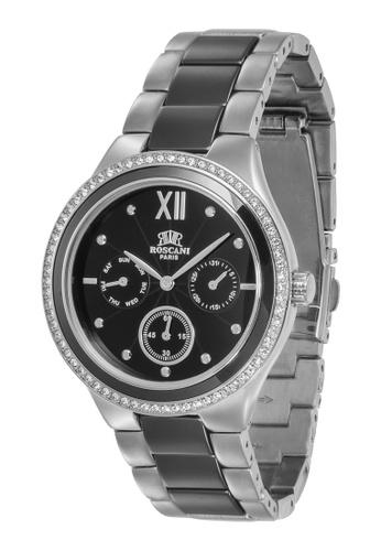 Roscani silver Roscani Scarlett 975 (Multifunction + WR 5ATM) Stainless Steel Black Bracelet Men Watch D31A0AC10B5259GS_1