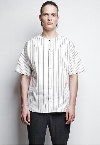 3 white Liam White Striped Baseball Shirt A6DF1AAC8BC631GS_1