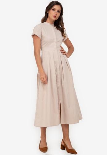ZALORA WORK beige Midi Shirt Dress B5E3CAA3C01866GS_1