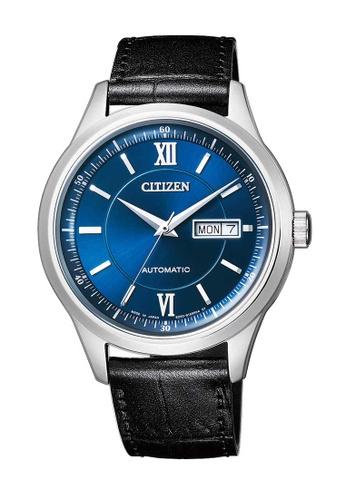 CITIZEN black Citizen Blue, Silver and Black Leather Watch 1F789AC04E41E5GS_1
