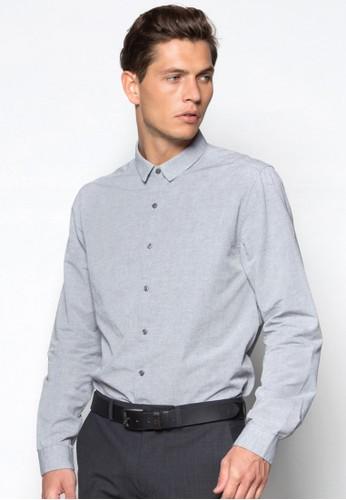素色zalora 男鞋 評價商務長袖襯衫, 服飾, 素色襯衫