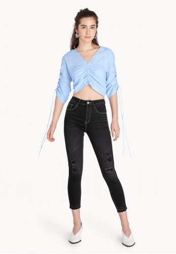 Pomelo black Cropped Distressed Skinny Jeans 9F945AAF159801GS_1