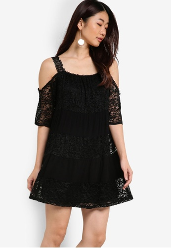 TOPSHOP black Lace Cold Shoulder Smock Dress TO412AA92YOXMY_1