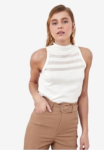 Trendyol white Striped Sleeveless Knit Top 07B8AAA62DC8E0GS_1