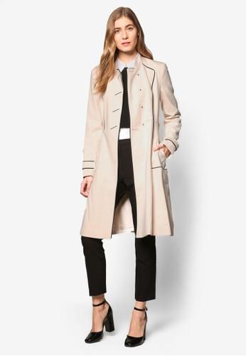 撞色滾邊長版腰帶外套, 服飾esprit台灣, 外套