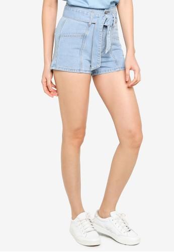 ZALORA BASICS blue Denim High Waisted Belted Shorts 39363AA562E6CCGS_1