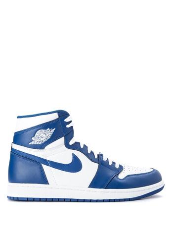 Nike white and blue Air Jordan 1 Retro High OG Shoes NI126SH0JTAVPH_1