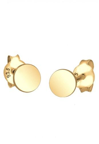 Elli Germany gold Perhiasan Wanita Perak Asli - Silver Anting Basic Round Gold Plated 15C30AC4917899GS_1