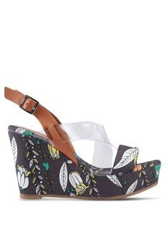 17e338717104 Nose brown Floral Print Strappy Wedges AABC1SHF86A925GS 1