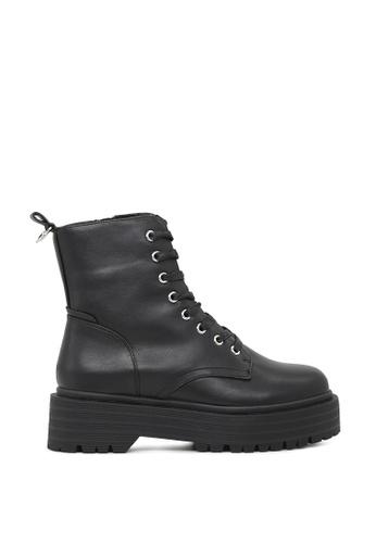 Rag & CO. 黑色 系鞋带厚底拉链踝靴 RCSH1744 71254SHAD08D0BGS_1