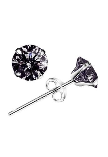 YOUNIQ silver YOUNIQ Basic CZ 925 Sterling Silver Earrings (Black) 43943ACBE588C0GS_1