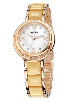 KIMIO Women's Twotone Ceramic Strap Watch K496