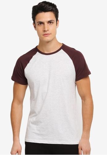 Burton Menswear London red Raglan Tee Shirt BU964AA0SLFEMY_1