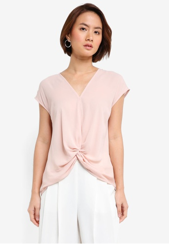 WAREHOUSE pink Stitch Detail Top 9A598AAC067523GS_1