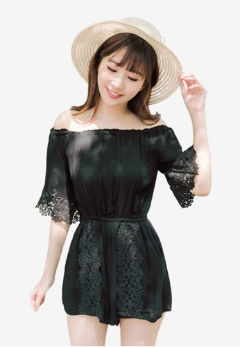 Eyescream black Off Shoulder Lace Romper 22B55AACE9E7FEGS_1