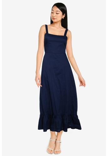 ZALORA BASICS navy Tie Back Cotton Dress 698DEAA7B39F33GS_1