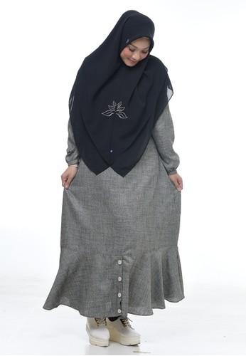 RABBANI grey Dress Muslim Hyuri D263EAA9F88D0EGS_1