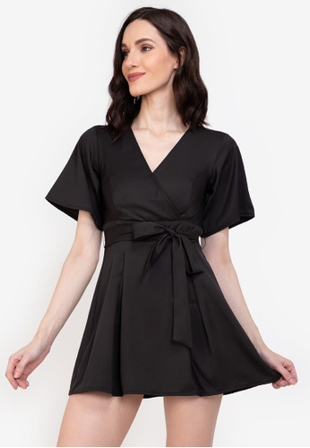 ZALORA BASICS black Flare Sleeve Skort Playsuit 24524AAE378E38GS_1