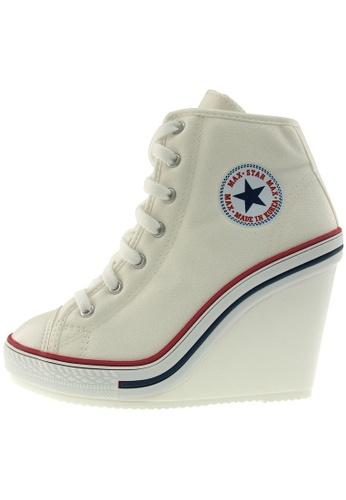 Maxstar 白色 新款韩国鞋777-SZ時尚帆布布混合女白色 US Women Size MA345SH73HBYTW_1