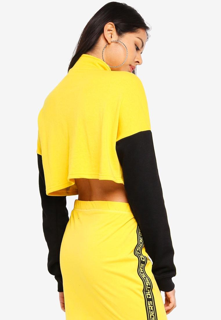 Funnel Dandelion Factorie Jumper Zip Sleeves Neck Body Black Crop XE6EqP