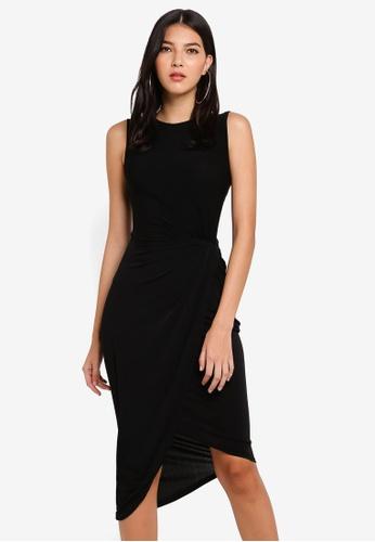 WALG black Moss Crepe Twist Dress 7E8DCAAE1B9902GS_1
