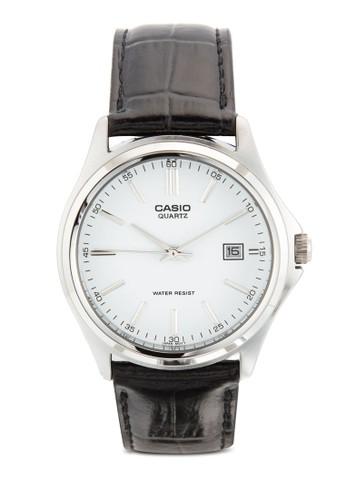 簡約三指esprit outlet 香港針暗紋皮革圓錶, 錶類, 飾品配件