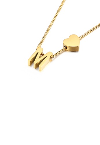 Glamorousky 銀色 時尚簡約鍍金色心形英文字母M 316L鋼吊墜配項鏈 70741AC972A45FGS_1