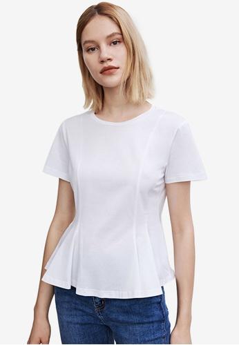 Urban Revivo white Peplum Cropped T-shirt 5539DAA11010D5GS_1