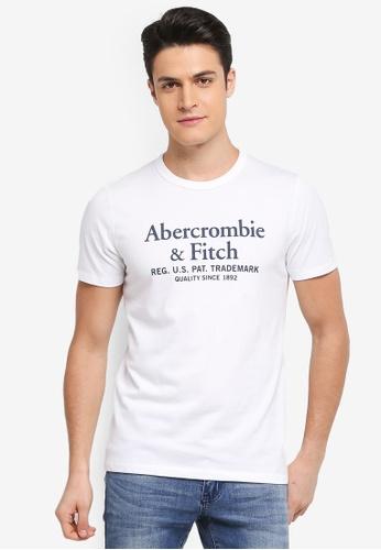 Abercrombie & Fitch white Brand Logo T-Shirt 7B569AA49373BFGS_1
