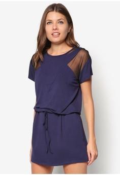Mesh Piecing Drawstring T-Shirt Dress