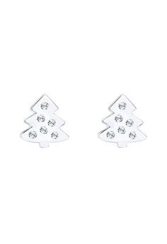耳環 Christmas Tree SwarovskiCrystals 925 銀