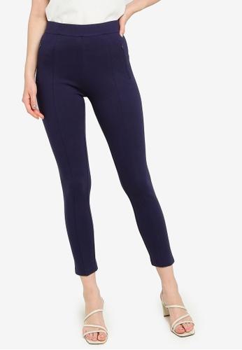 ZALORA WORK 海軍藍色 Zip Pocket Leggings 1B683AAD785E56GS_1