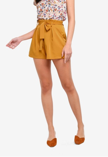 ZALORA yellow Tailored Paper Bag Shorts A95C6AA029814AGS_1