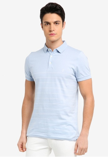 French Connection blue Summer Engineered Stripe Polo Shirt 600FAAAC4E0DD2GS_1
