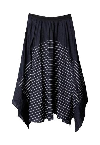 Giordano Ladies blue Asymmetric Hem Stripe Skirt 18291AA7A7D949GS_1