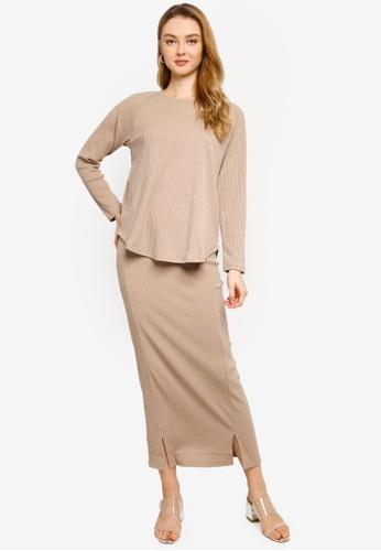 Gene Martino beige Knit Sweater and Skirt Set B9485AA17386F9GS_1