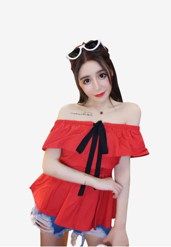 hk-ehunter red Women Front Tie Off Shoulder Blouse Top DCA07AAC1B95FFGS_1