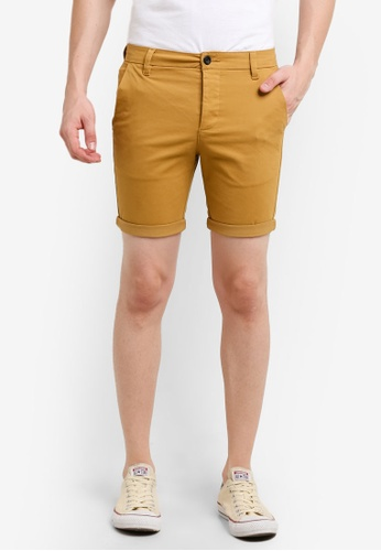 Topman 黃色 Mustard Stretch Skinny Chino Shorts TO413AA0RD4ZMY_1
